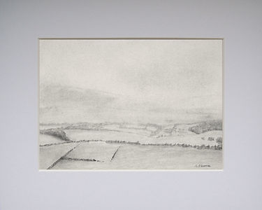 a rendering of graphite pencil landscape scenery depicting distant fields and hedgerows