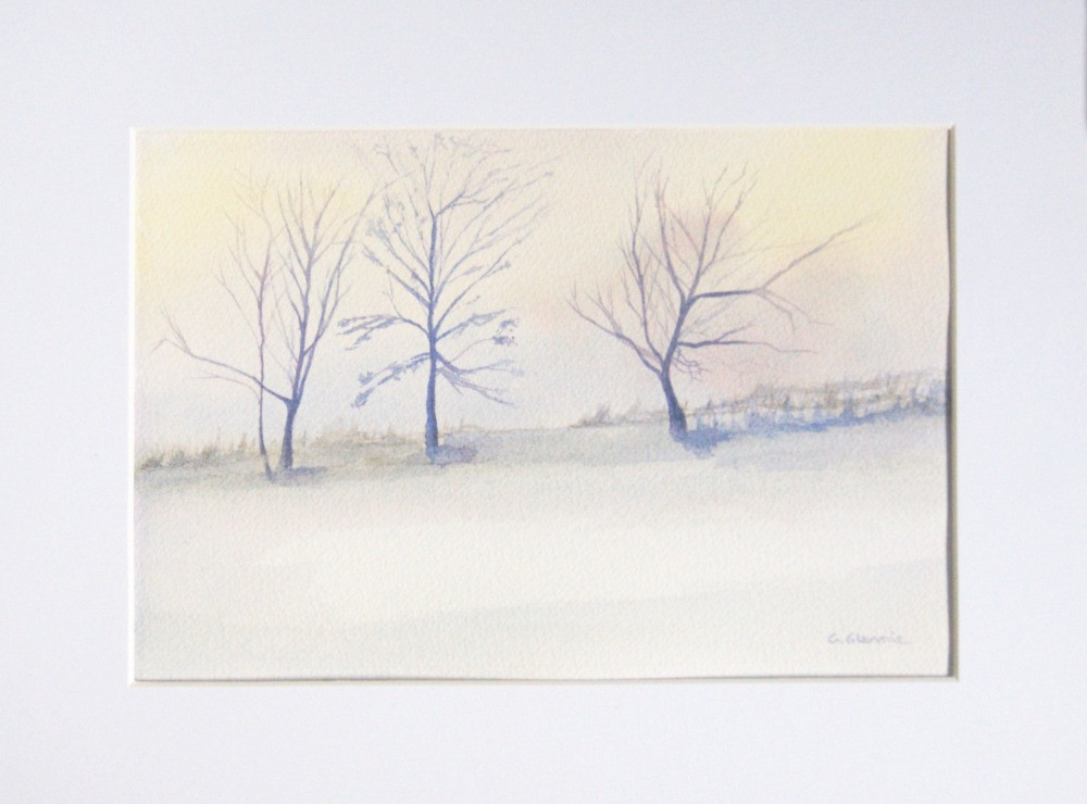 countryside watercolour scene with three trees and snow