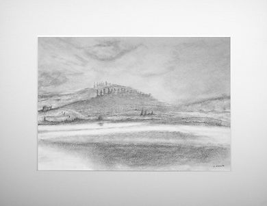 original graphite drawing of a loch and three figures