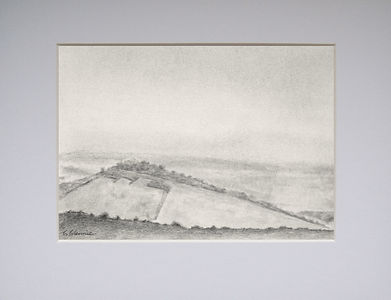 a graphite landscape scene showing a side view of a steep tree ligned hillside with fields