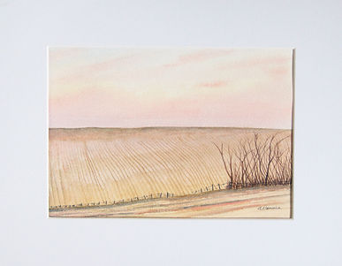 farmland watercolour painting showing ploughed field and copse of winter trees