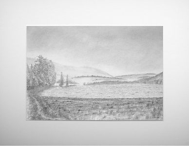 original graphite drawing with ploughed field trees and distant hills