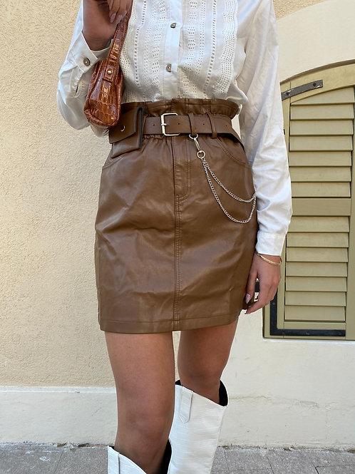 חצאית דמוי עור חגורה