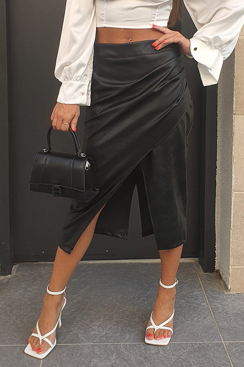 חצאית דמוי עור שסע