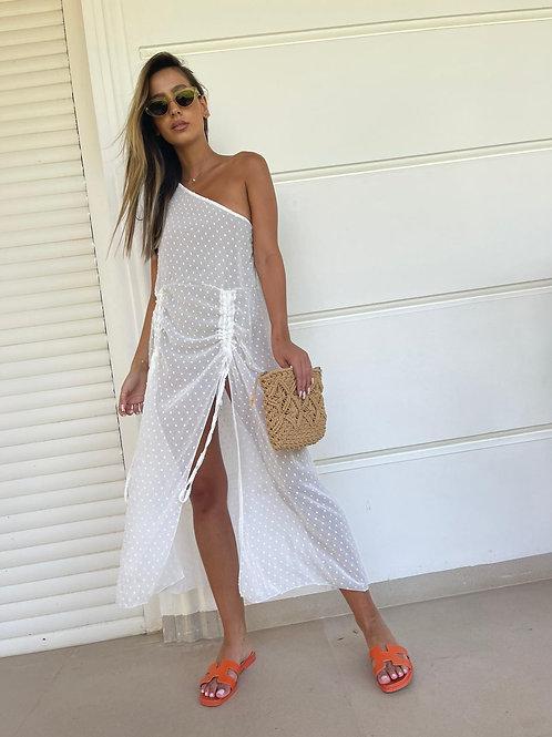 שמלת כיווץ שיפון כתף אחת