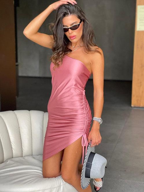 שמלה כתף אחת כיווץ