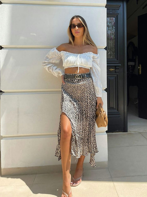 חצאית סאטן פליסה הדפס