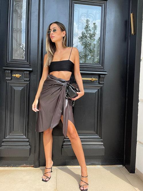 חצאית דמוי עור קשירה