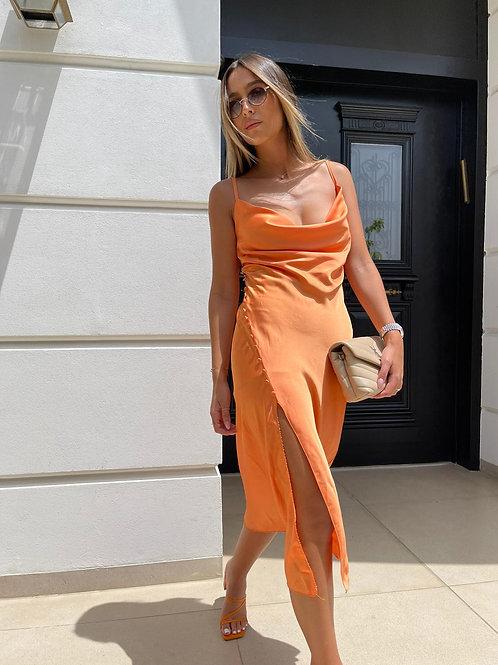 שמלת סאטן כפתורים
