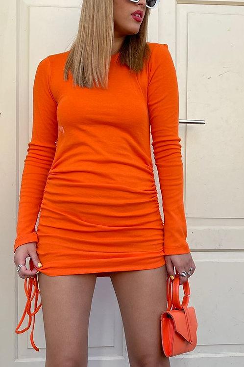 שמלה כיווצים שרוול ארוך
