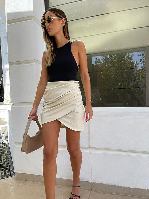 חצאית דמוי עור מעטפה