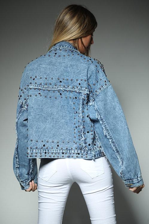 ג'קט ג'ינס ניטים כיסים