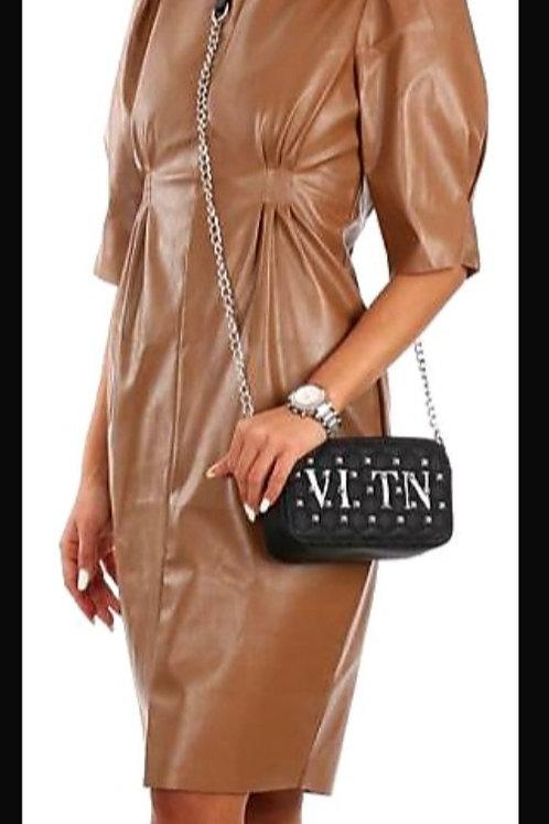 שמלת דמוי עור כיווץ