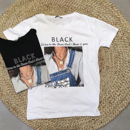 חולצה הדפס מחורזת BLACK