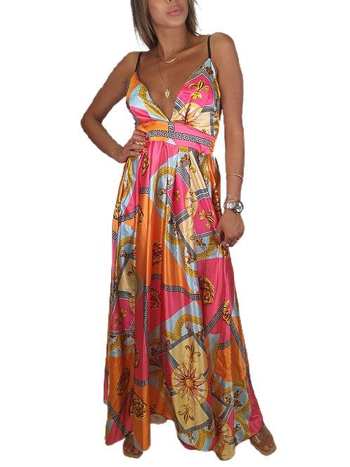 שמלה מקסי סאטן צבעוני