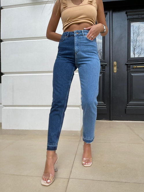 ג'ינס חצי-חצי כחול
