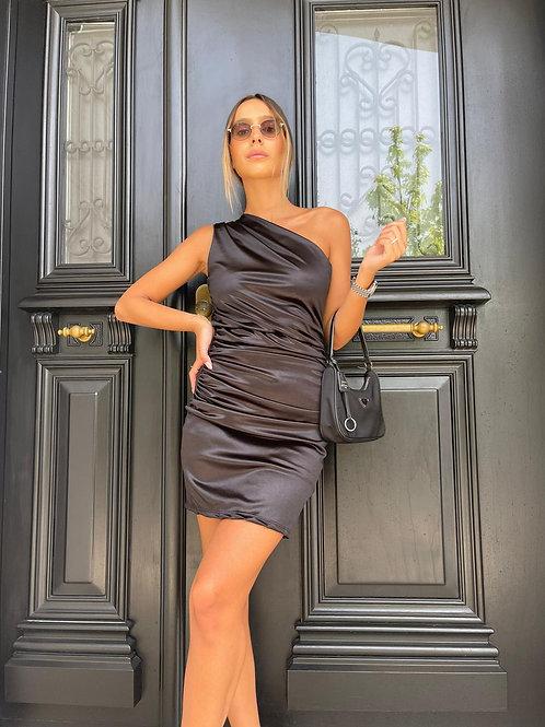 שמלת סאטן כתף אחת