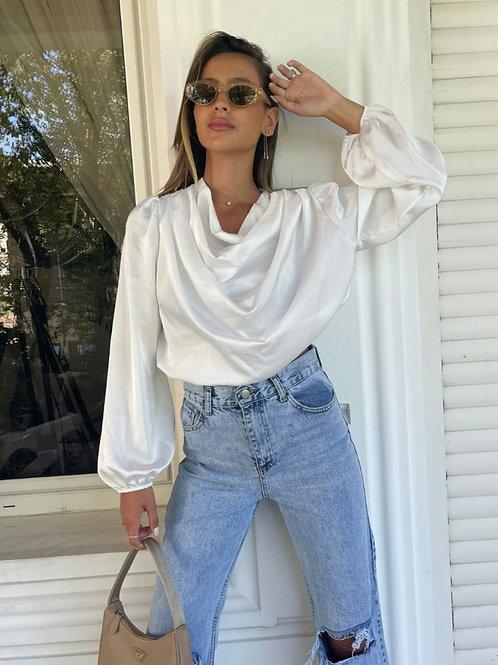חולצת סאטן רבידה