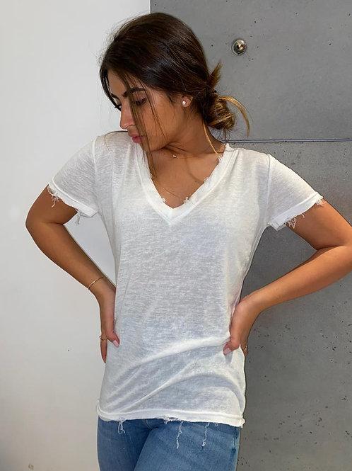 חולצה V פשתן שרוול קצר