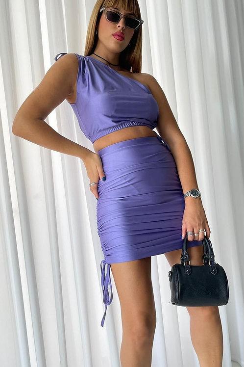 חליפת חצאית כתף אחת