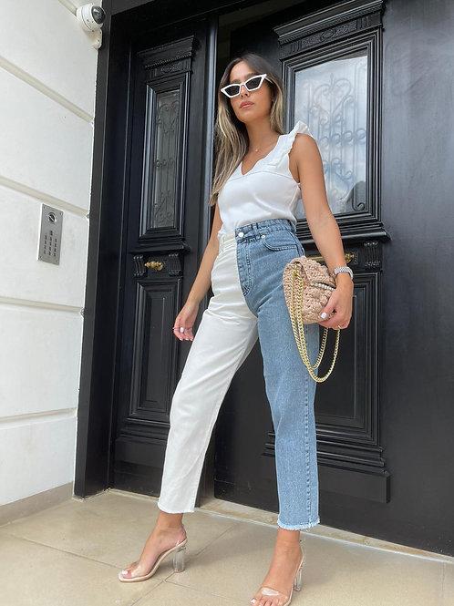ג'ינס חצי-חצי לבן
