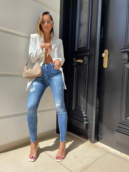 ג'ינס קרעים כהה