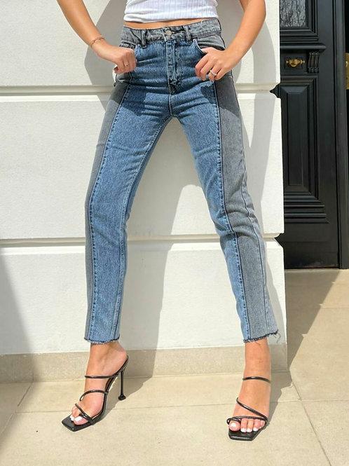 מכנס ג'ינס חצי חצי-כחול