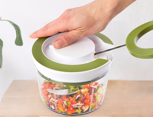 eco Pull-String Food Chopper / Mixer / Spiralizer with Julienne and Ribbon Blade