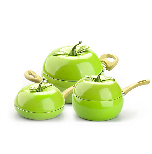Apple Aliminium Non Stick Sauce Pan (3 X Set)