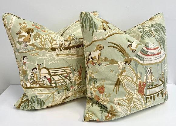 "22"" Pillow - Thibaut Fishing Village in Light Green"