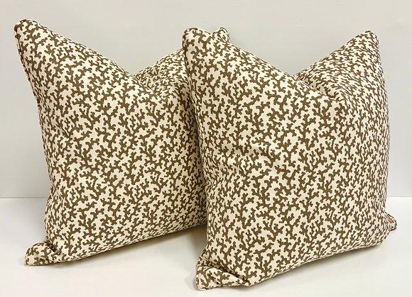 """20"""" Pillow - Schumacher Folly in Berber Brown"""