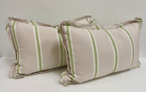 14 x 22 Pillow - Thibaut Saybrook Stripe in Green & Flax