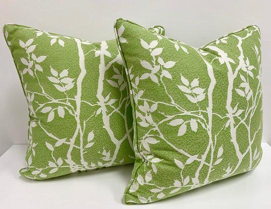 """22"""" Pillow - Thibaut Sylvan Leaves in Kiwi  (Indoor/Outdoor)"""
