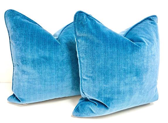"""20"""" Pillow - Schumacher Blue Stripped Velvet"""