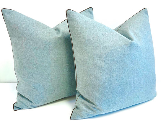 """20"""" Schumacher Chester Wool pillow in Azure with a tobacco cord trim."""