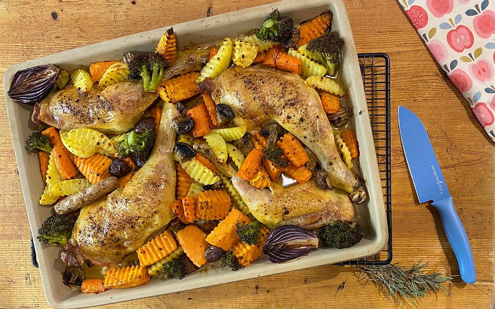 Gemüsepfanne mit Hähnchenschenkel mit Pampered Chef