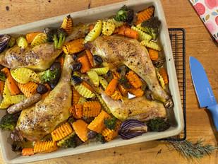 Gemüsepfanne mit Hähnchenschenkel