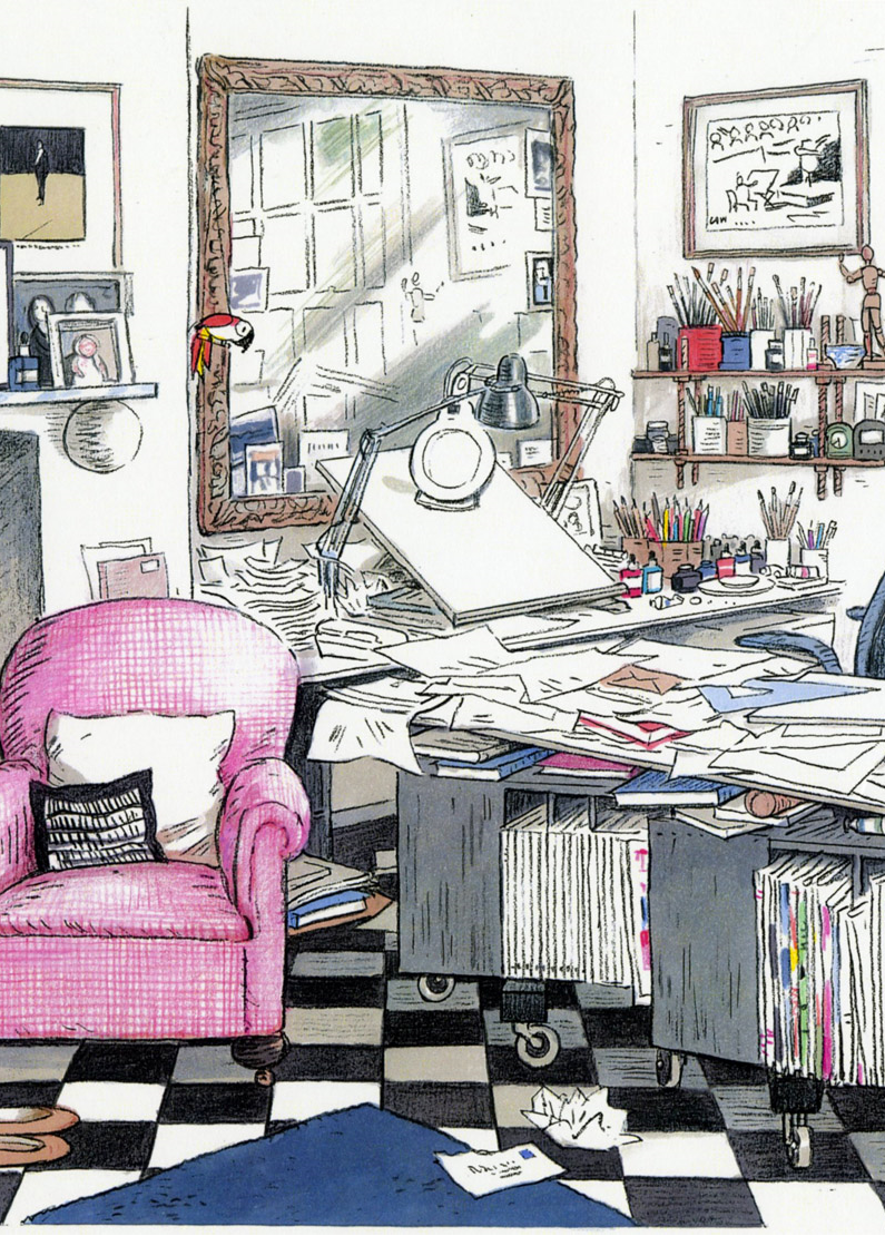 Posy Simmonds' drawing of her workspace