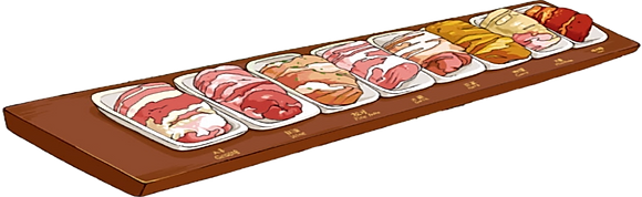 conjunto de 8 sabores de carne porco preto iberico