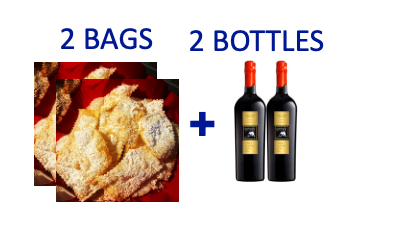 2 bags of handmade Chiacchiere + 2 bottles of LUPO BIANCO