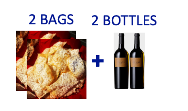 2 bags of handmade Chiacchiere +2 bottles of ZUANI VIGNE