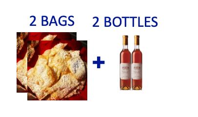 2 bags of handmade Chiacchiere + 2 bottles (0,5L) of VINSANTO