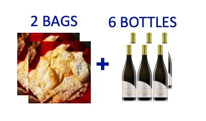 2 bags of handmade Chiacchiere + 6 bottles of KANIMARI Vermentino