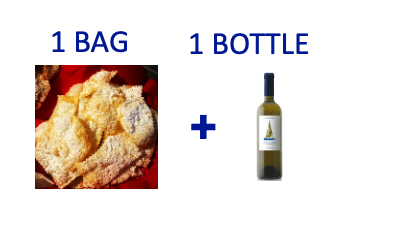1 bag of handmade Chiacchiere + 1 bottle of INFATATA Malvasia