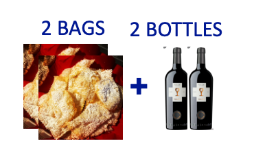 2 bags of handmade Chiacchiere + 2 bottles of ANTIERI SUSUMANIELLO
