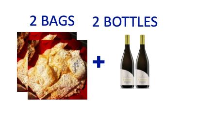 2 bags of handmade Chiacchiere + 2 bottles of KANIMARI Vermentino