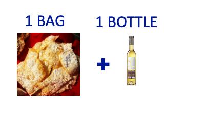 1 bag of handmade Chiacchiere + 1 bottle (0,5L) of MOSCATO DI SORSO SENNORI