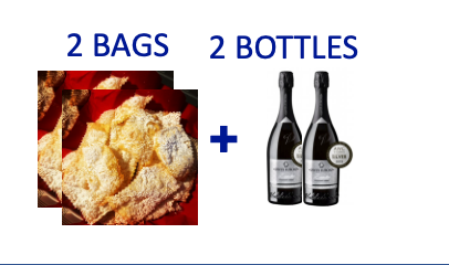 2 bags of handmade Chiacchiere + 2 bottles of PROSECCO DOCG BRUT