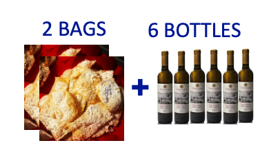 2 bags of handmade Chiacchiere + 6 bottles (0,5L) of MALVASIA PASSITO