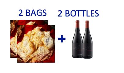 2 bags of handmade Chiacchiere + 2 bottles of MERLA DELLA MINIERA